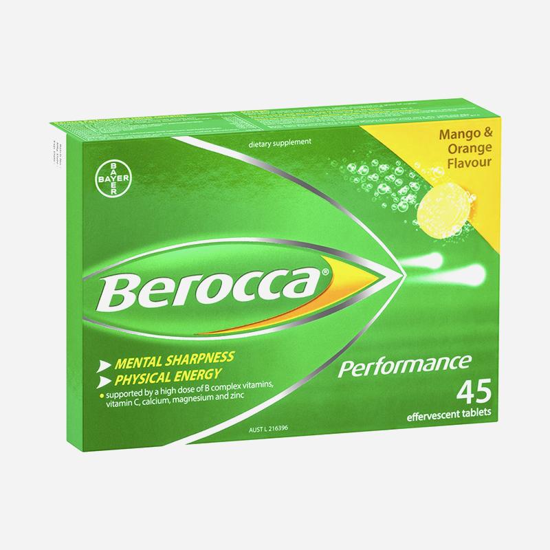 Berocca Performance 45 Effervescent Tablets Orange And Mango