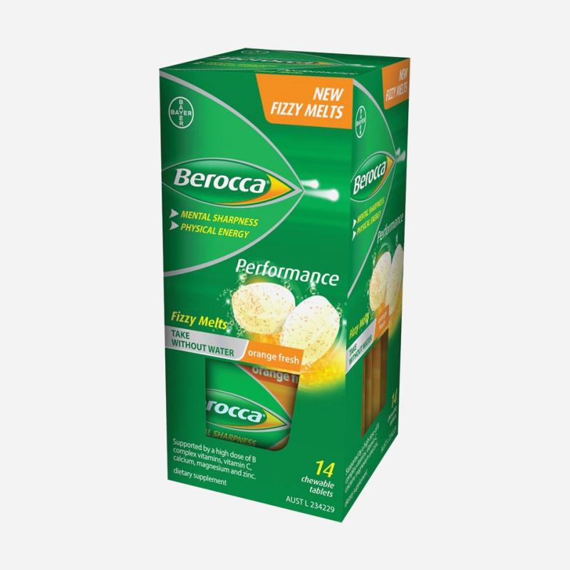Berocca Performance Fizzy Melts Orange Fresh 14 Chewable