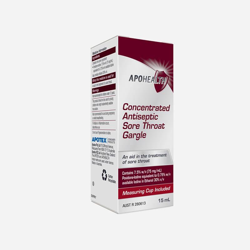 apo health antiseptic sore throat gargle 15ml
