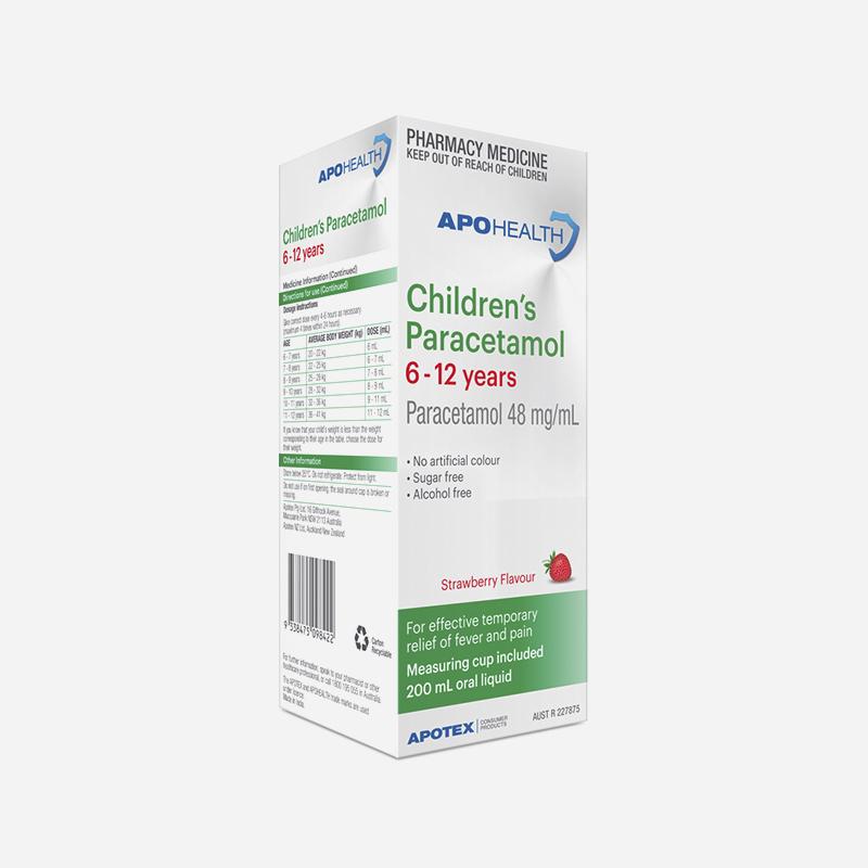 apo health childrens paracetamol 6-12 years 200ml strawberry