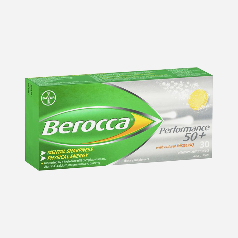 berocca performance 50+ with ginseng 30 effervescent tablets