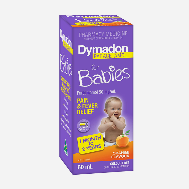 dymadon for babies 1 month to 2 years 60ml orange flavour