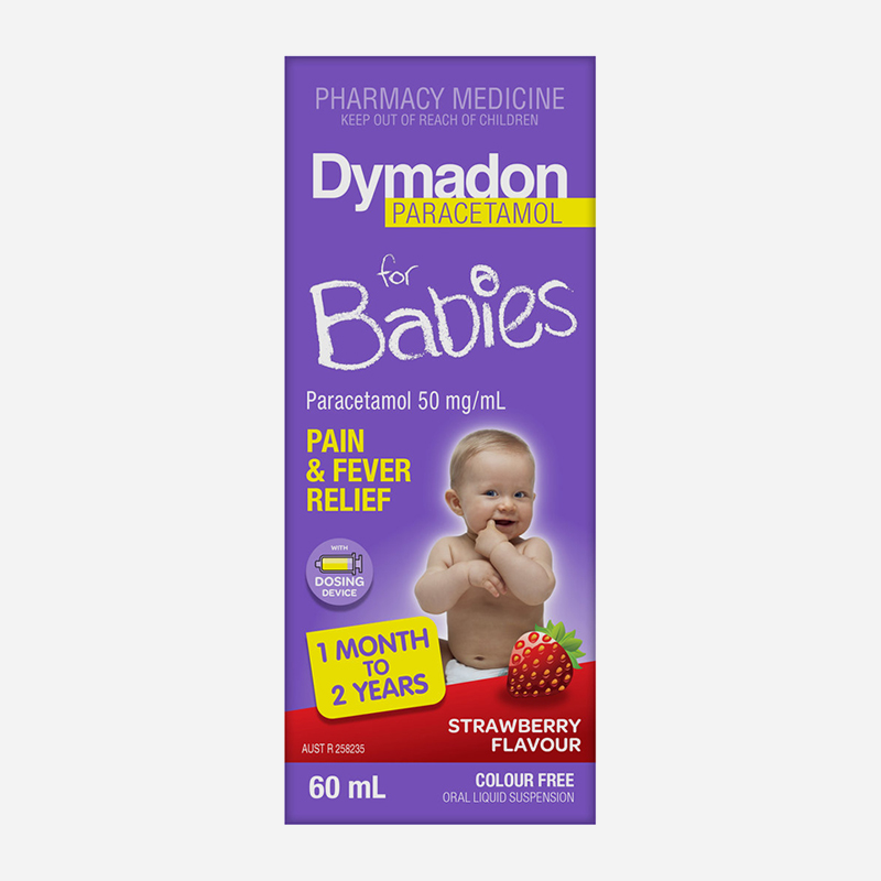 dymadon for babies 1 month to 2 years 60ml strawberry flavour