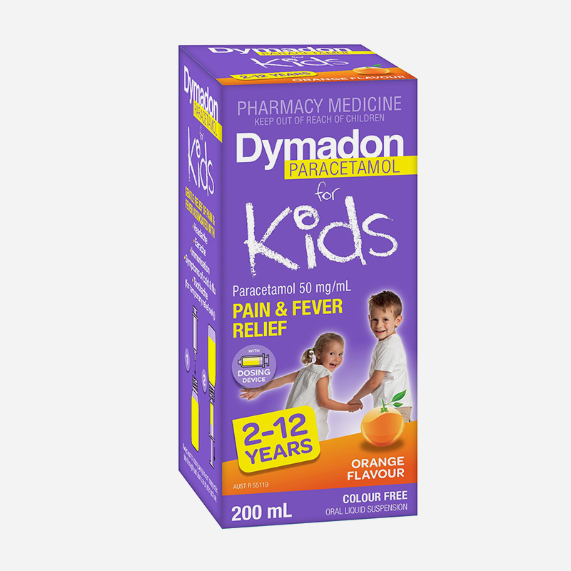 dymadon for kids 2 years to 12 years orange flavour 200ml