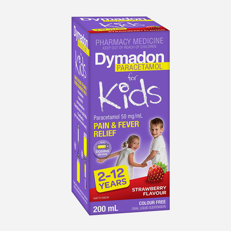 dymadon for kids 2 years to 12 years strawberry flavour 200ml