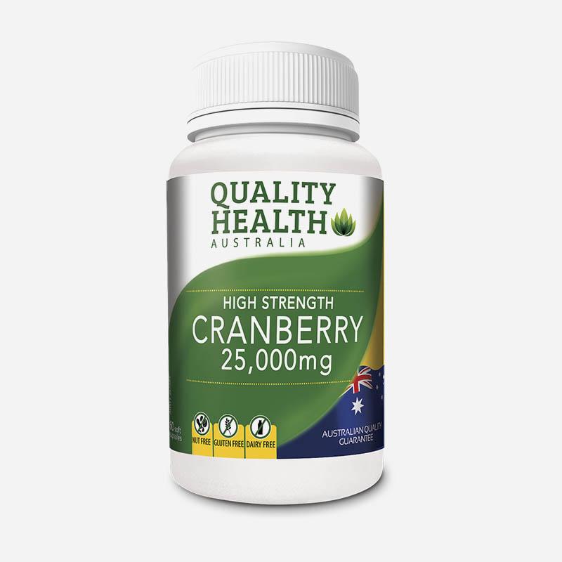 quality health high strength cranberry 25,000mg 60 capsules