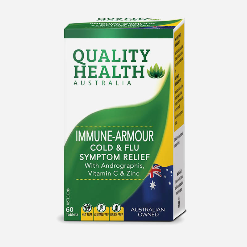 quality health immune-armour cold and flu relief 60 tablets