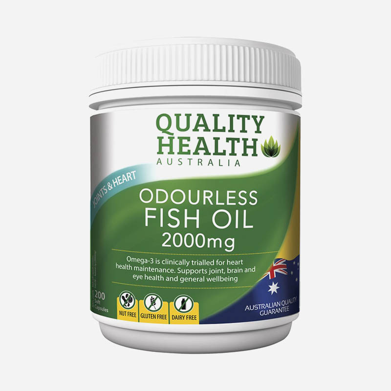 quality health odourless fish oil 2000mg 200 tablets