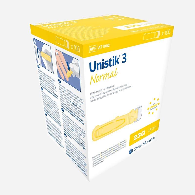 unistik 3 normal single use 23 gauge 100 pack