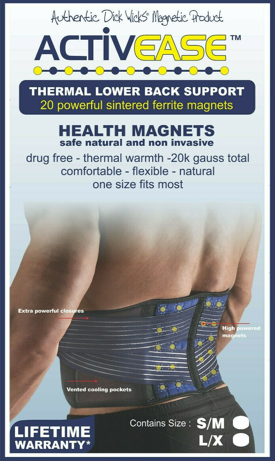 Dick Wicks Activease Thermal Back Support Magnetic Therapy Pain Relief S-M