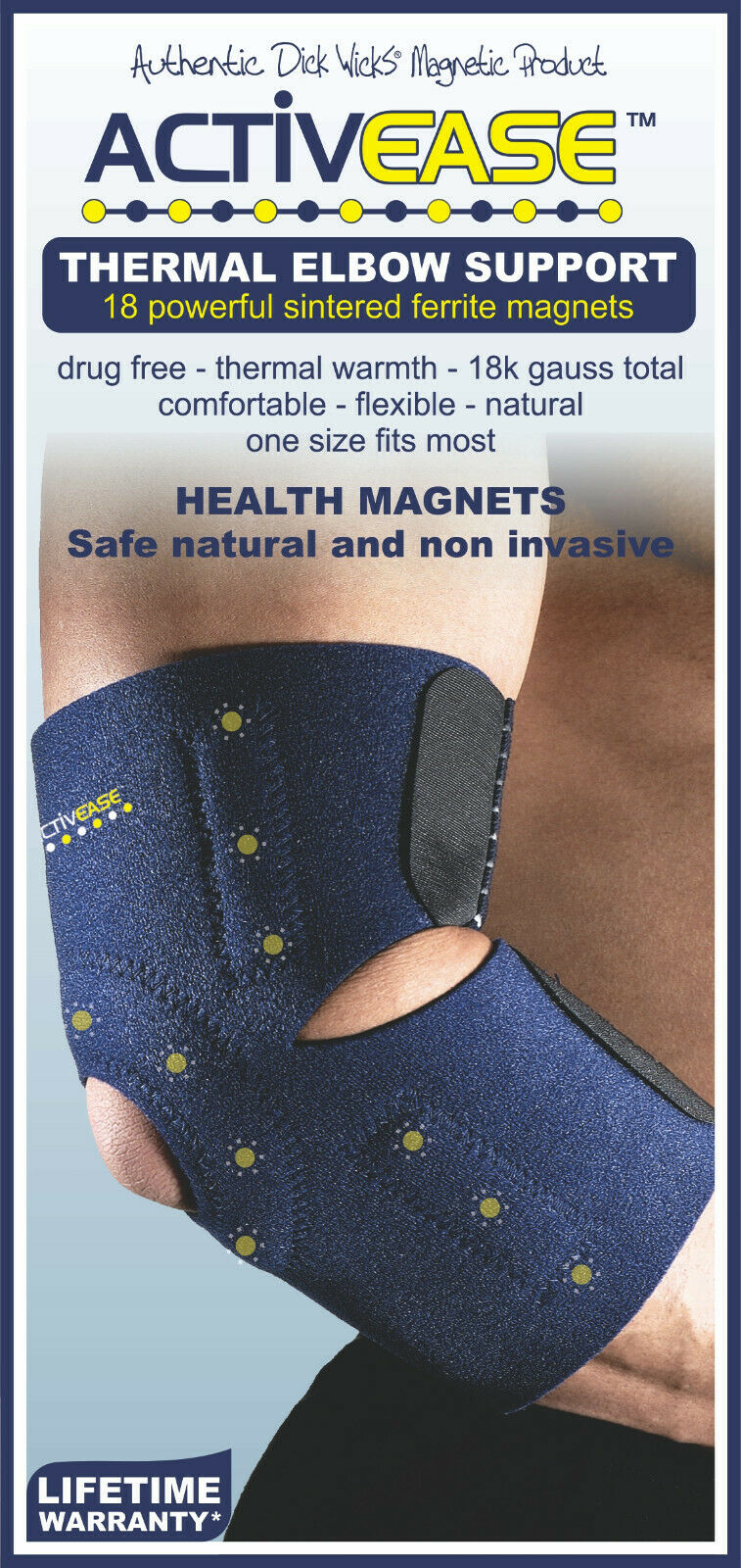 Dick Wicks Activease Thermal Elbow Support Magnetic Therapy Pain Relief