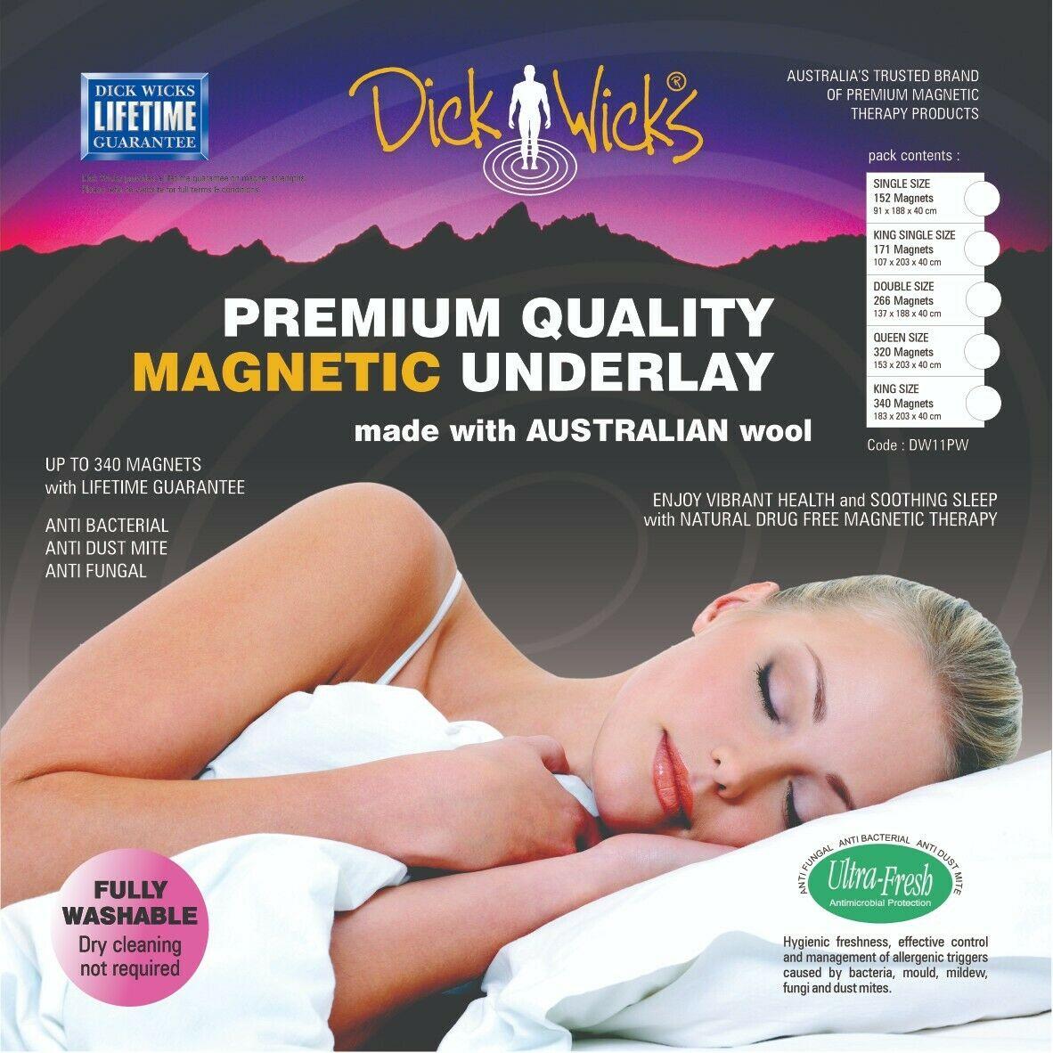 Dick Wicks Premium Wool Magnetic Underlay King Single