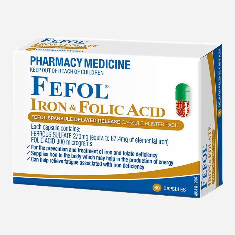 Fefol Iron And Folic Acid 60 Capsules