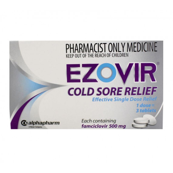 Ezovir Cold Sore Relief Tablets 500mg x 3