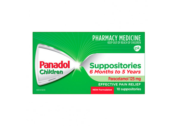 Panadol suppository 6 months to 5 years 125mg 10 pack